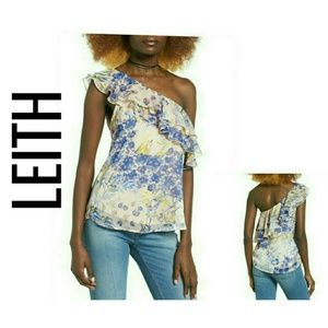LEITH Floral Ruffle One-Shoulder Top NWT S